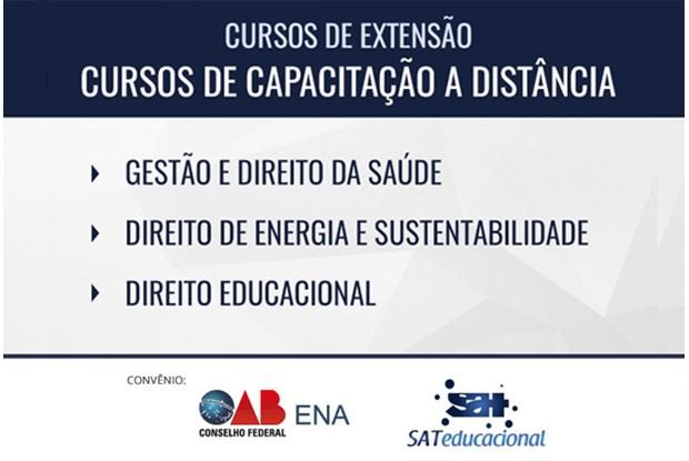 Estão abertas as matrículas para três cursos de extensão do convênio entre ENA e SAT