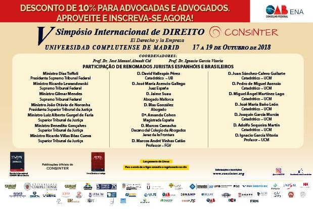 V Simpósio Internacional de Direito do Consinter: Conheça os participantes
