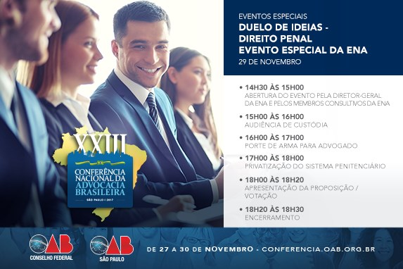 XXIII Conferência Nacional: Evento especial da ENA apresentará duelo de ideias em direito penal